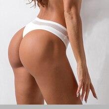 תחרה סקסית חוטיני מכנסי יוגה נשים אנטיבקטריאלי כותנה חלקה ספורט חוטיני נמוך מותניים ספורט כושר משולש תחתוני תחתונים