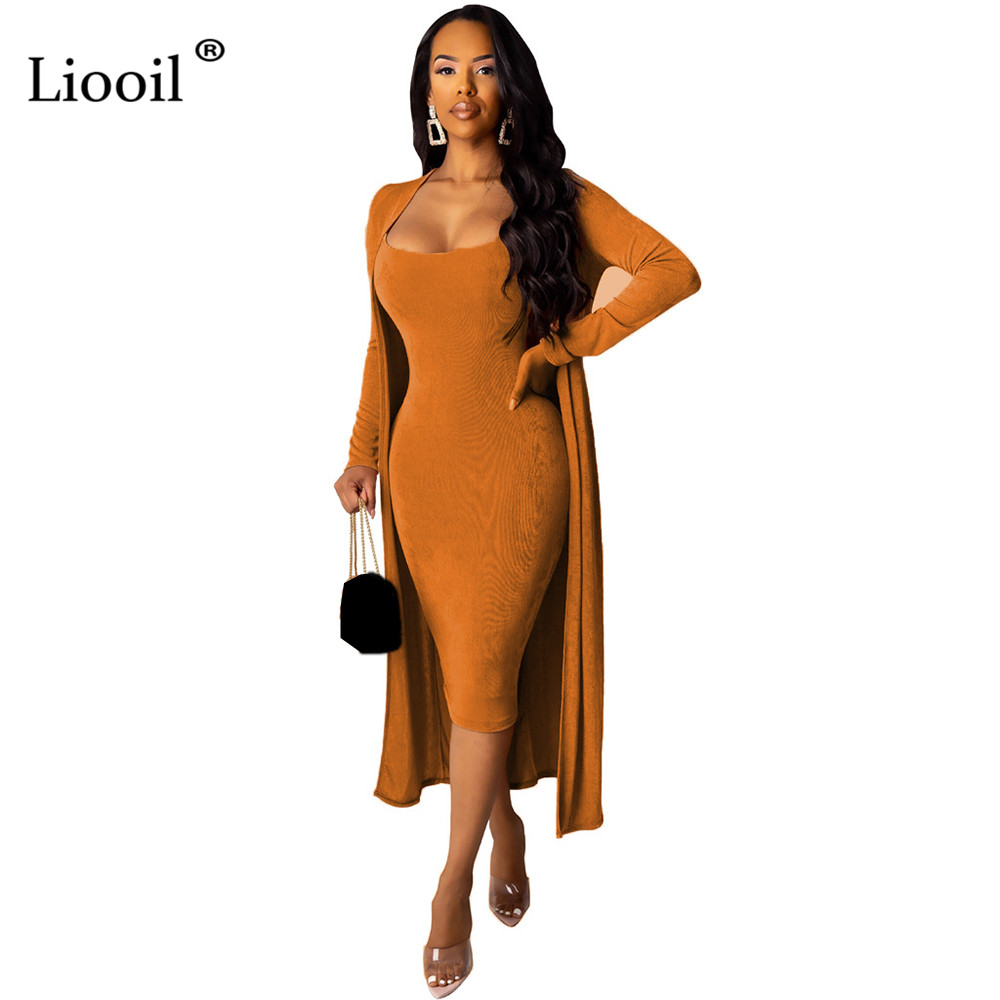 Liooil Velvet 2 Piece Set Party Club Outfits For Women 2019 Autumn Winter Long Sleeve Sexy Cardigan Coat And Bodycon Midi Dress