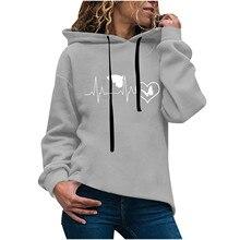 40# Women's Autumn Winter Print love Hoodie Long Sleeved Comfortable Pullover Hoodies Tops Leisure Keep warm Sweatshirts свитшот