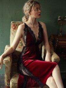 Image 2 - Sexy Nightgown Women Sleepwear Fall/winter Gold Velvet Beauty Back Suspender Dress Lace Side Split Temptation Hot Nightdress