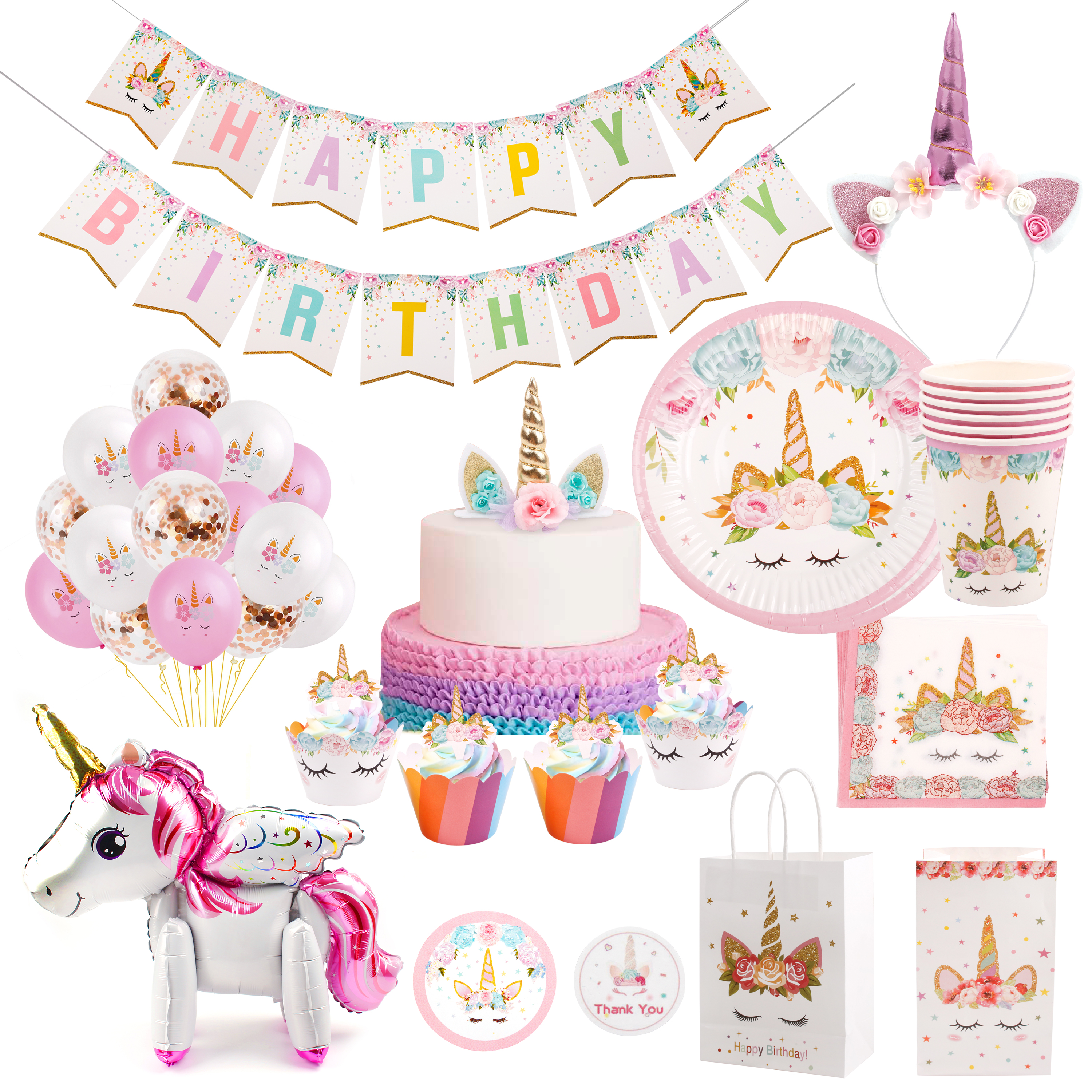 PATIMATE Unicorn Party Supplies Unicorn Decoration Birthday Party Decoration Baby Shower Decoration Unicornio Decoration in Party DIY Decorations from Home Garden