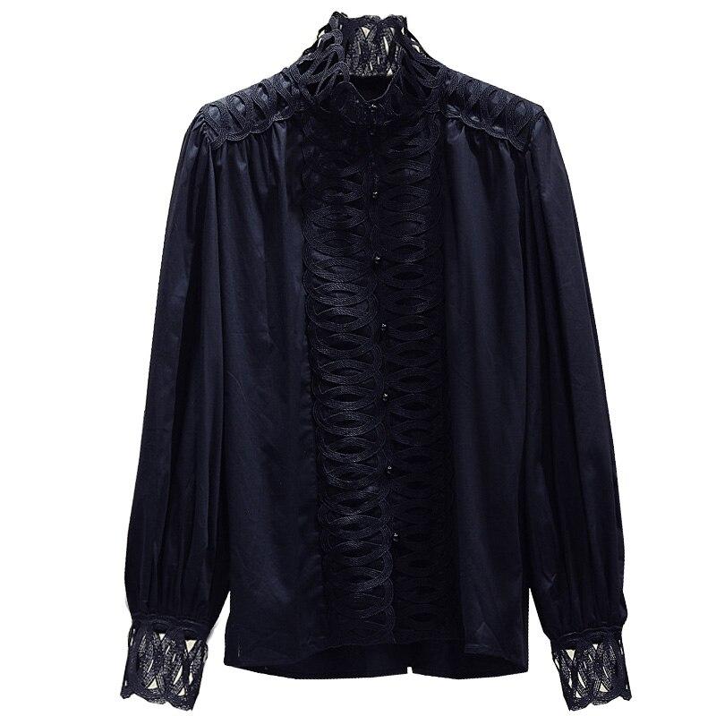 Dentelle couture blanc chemise femme 2019 automne nouveau coréen lâche à manches longues col montant manteau femme Blouse Blusas dame bureau haut - 4