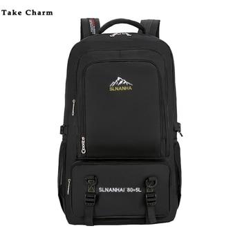 60 L Large Capacity Men Outdoor Camping Travel Backpack Nylon Waterproof Casual Mountaineering Bag Hiking Backpack Black Mochila