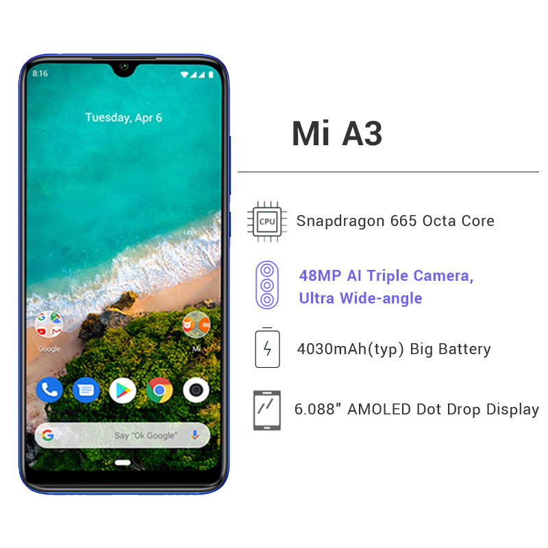 Image 2 - Global Version Xiaomi MI A3 4GB 64GB Snapdragon 665 Octa Core 48MP Triple Cameras 32MP Front Camera 4030mAh Smartphone-in Cellphones from Cellphones & Telecommunications