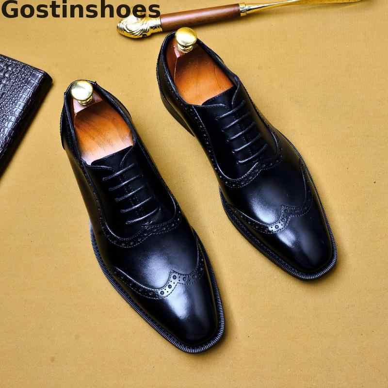איטליה עיצוב גברים נעלי עור אמיתי עור פרה שחור חום פורמליות דרבי נעלי שרוכים קצה כנף הצביעה שמלת נעליים