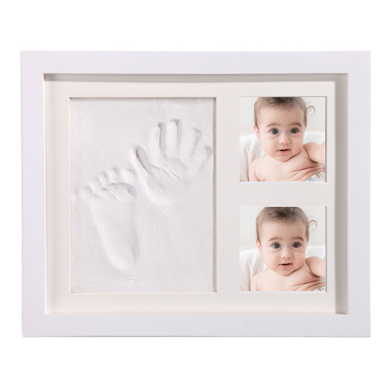 Baby Handprint Footprint Photo Picture Frame Kit  Newborns Kids DIY Gift Souvenir Baby Clay Molds