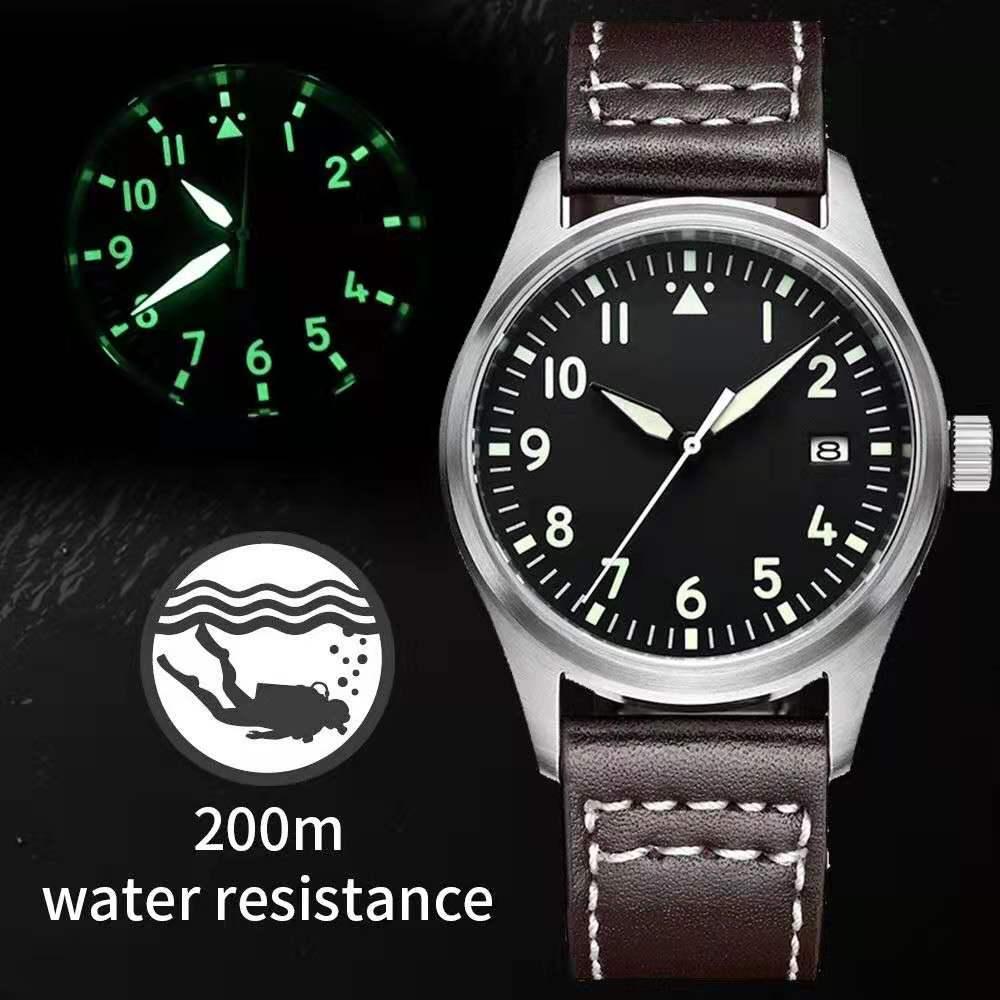 New Men Pilot Watch Automatic Watches NH35A 20 Bar Sapphire Crystal Mechanical Pilot Watch Stainless Steel Diving Watch Hot