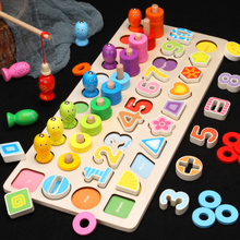 Kids Toys Montessori Educational Wooden Toys Magnetic Fishing Game Count Shape Cognition Math Toys Educational Toys For Children early educational toys wooden toys 32 piece set magnetic fishing game table game for children kids