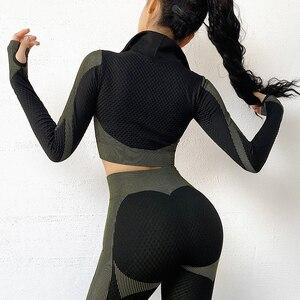 Image 4 - Top de yoga sin costuras de manga larga para otoño, tops cortos de gimnasio para mujer, camiseta para correr, sudadera deportiva con cremallera