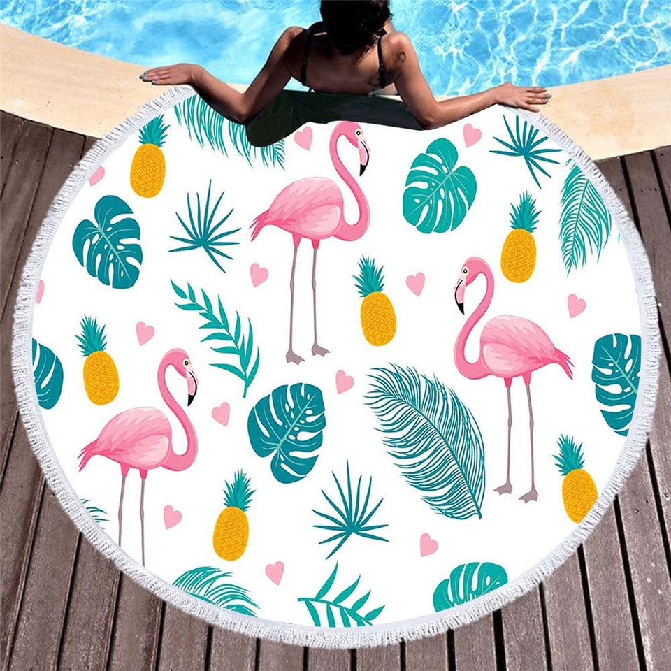 Urijk Pineapple Round Beach Towel With Tassel Flamingo Large Blanket Picnic Yoga Mat Travel Boho Tablecloth Toalla De Playa Bath Towels Aliexpress