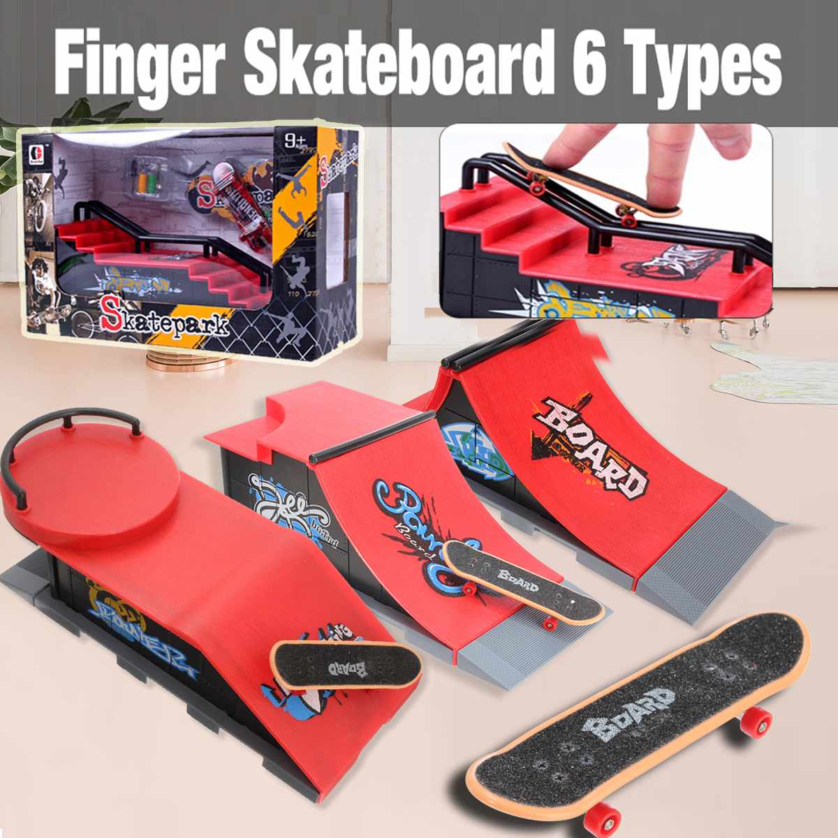 Finger Skateboards Toy Set Mini Training Educational Fingerboard with Ramp Track