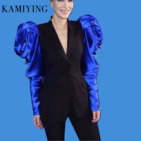 New Arrival Patchwork Hit Color Women's Notched Blazer Puff Long Sleeve High Waist female blazers designs