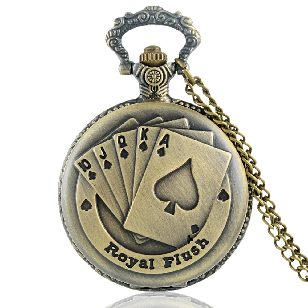 Retro Bronze Poker Quartz Pocket Watch Chains Antique Men Women Necklace Clock Gift Relogio