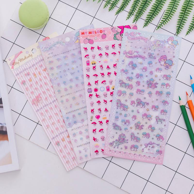 1sheet Kawaii My Melody Little Twin Stars Decorative Stickers Scrapbooking Sticker Label Diary Album Stickers Classic Toys Gift