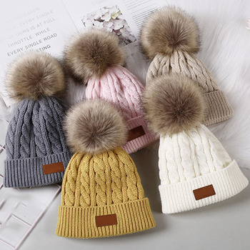 New Pompom Baby Beanie Hat Solid Color Newborn Baby Girl Boy Autumn Winter Hat Warm Knitted Kids Children Beanies image