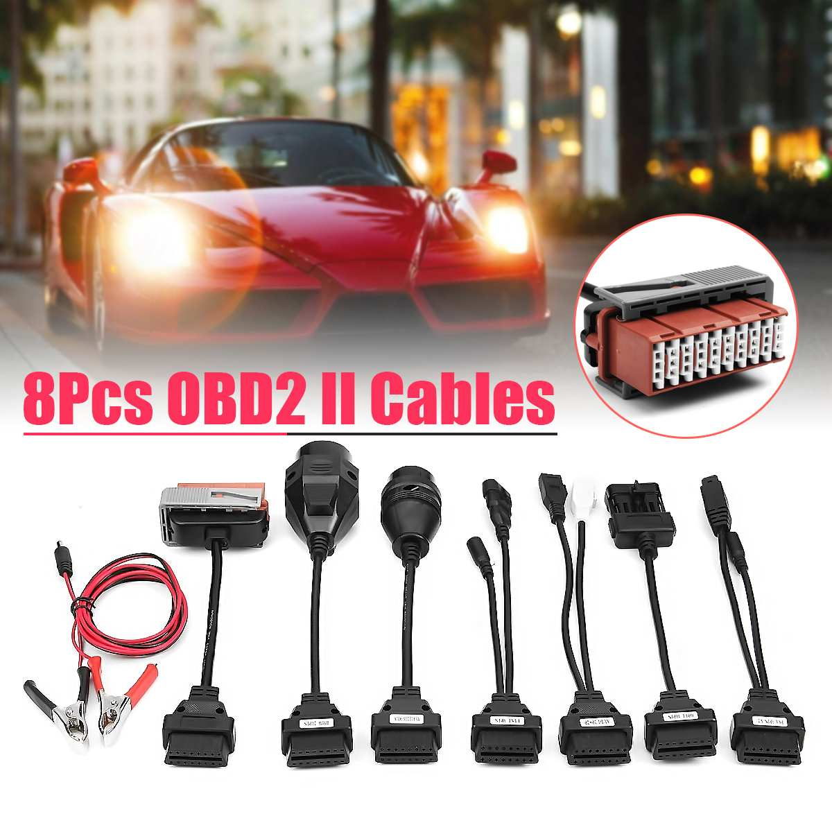 8 sztuk pełny zestaw samochodów ciężarówka kable kabel samochodowy narzędzie diagnostyczne OBD2/OBD1 kable samochodowe adapter diagnostyczny złącze