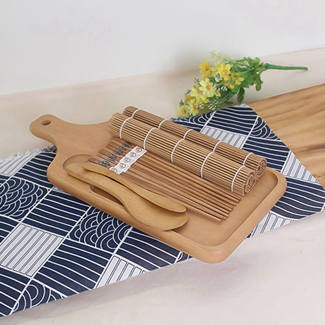 9pcs/set Sushi Mat Bamboo Knife Rice Spoon Chopsticks Sushi Maker Set Rice Mold Kitchen Sushi Mold Cooking Tool 5
