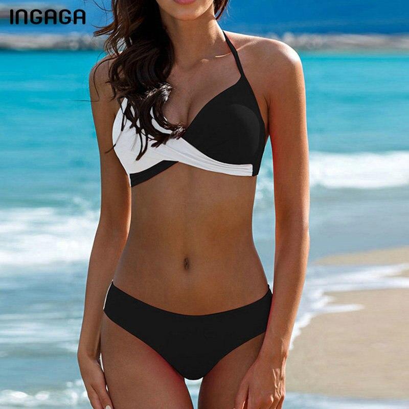 INGAGA Push Up Bikini 2019 Patchwork Swimwear Women Halter Swimsuits Wrap Biquini Sexy Strap Bathing Suit Women Summer XXL