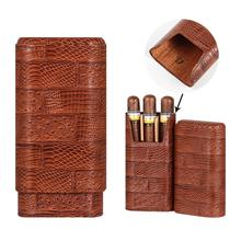GALINER Leather Travel Cigar Case Holder Portable 3 Tube Humidor Mini Cigars Storage Box Fit COHIBA With Gift