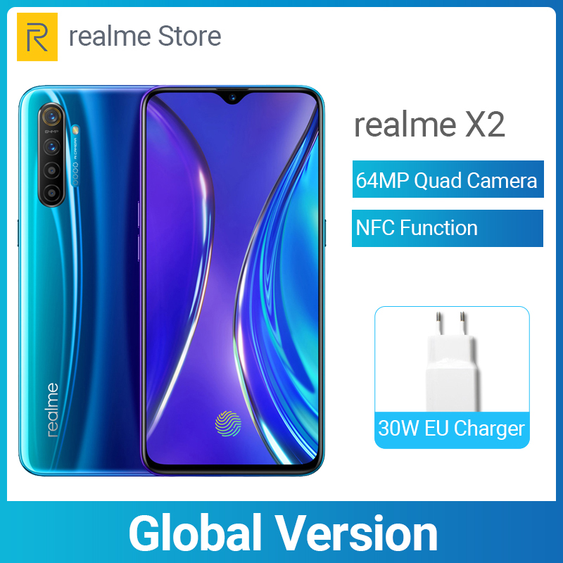 Global Version Realme X2 8GB 128GB X 2 6.4'' Moblie Phone Snapdragon 730G 64MP Quad Camera NFC Cellphone 30W VOOC Fast Charger