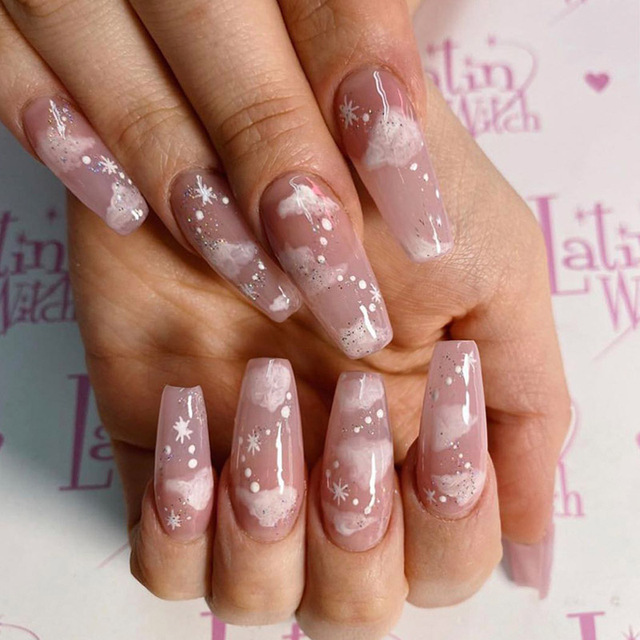 24pcs fake long fingernail Ballet Nude color transparent Pink cloud Manicure patch press on nails with designs for girls 1