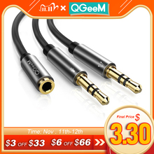 Qgeem divisor fone de ouvido para computador 3.5mm fêmea para 2 macho 3.5mm mic áudio y divisor cabo fone de ouvido para pc adaptador aux cabo