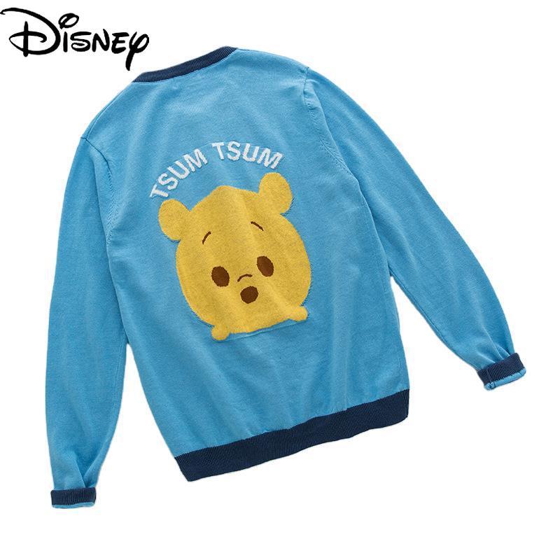 Original Disney Mickey Mouse Minnie Winnie The Pooh Children's Cardigan Thin Jacket Cotton Crew Neck Sweater Knit Sweater