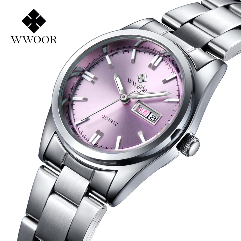 2020 Fashion Pink Watch For Women WWOOR Luxury Brand Women Bracelet Watch xfcs Ladies Elegant Quartz Calendar Clock Montre Femme
