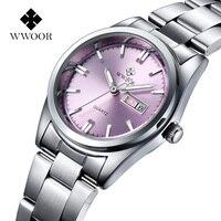 2020 mode Rosa Uhr Für Frauen WWOOR Luxus Marke Frauen Armband Uhr xfcs Damen Elegante Quarz Kalender Uhr Montre Femme