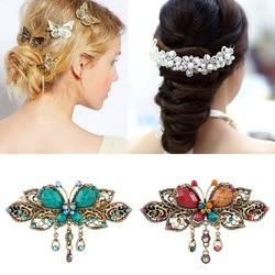 Metal Hair Clips Golden Butterflies Hairpins Grips Barrette Clamps Women Fashion Pearl Hair Pins Wedding Bride Styling Headwear