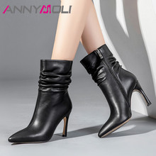 ANNYMOLI Winter Ankle Boots Women Natural Genuine Leather Zip Thin Heel Short Pleated Extreme High Shoes Lady