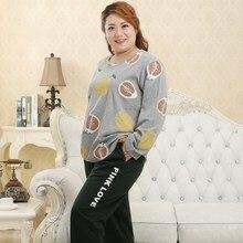 Женский большой размер круглый вырез с длинными рукавами пижамный комплект хлопоковый домашний серый размер 3XL-5XL