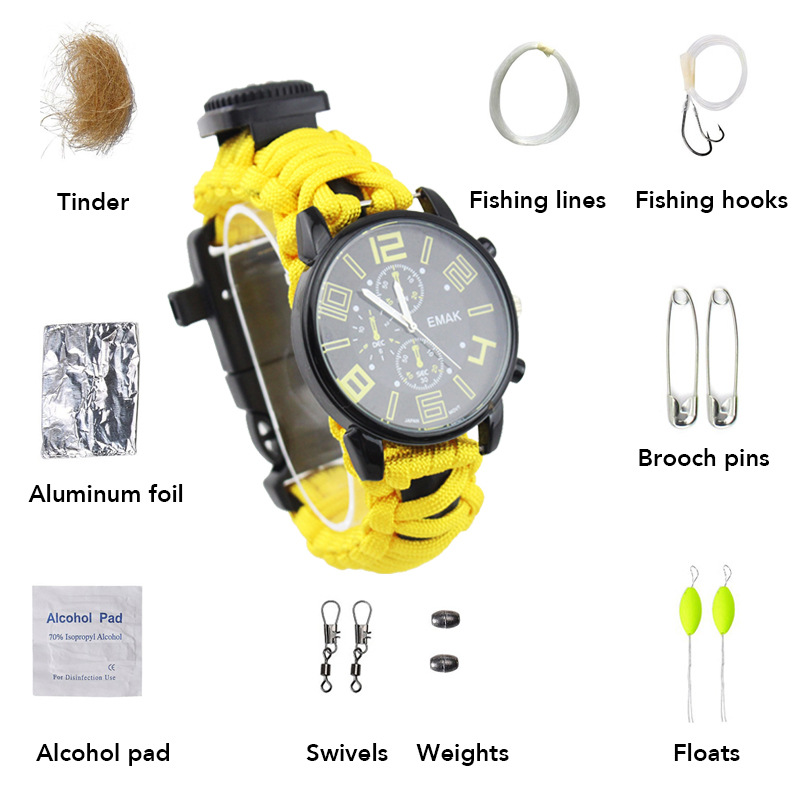 Europe And America Fashion Men Business Waterproof Watch Mountain Climbing Camping Travel First Aid Umbrella Rope Weaving Multi-
