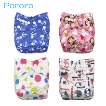 Pororo 1pc diapers Washable cloth baby breathable pocket  Printed PUL Cover Wrap Suede Cloth Adjustable diaper