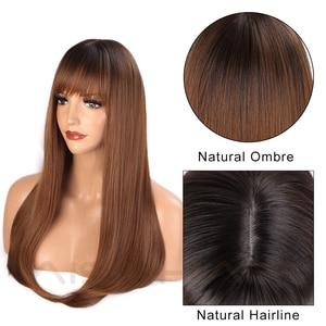Image 3 - AISI 髪ロングストレート前髪ダークルートオンブル茶色のかつら女性 18 インチ自然な髪コスプレかつら