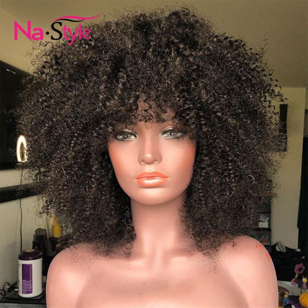Afro crépus bouclés perruque avec frange partie profonde 13x6 dentelle avant perruques de cheveux humains pour les femmes noires courtes perruques de cheveux humains Bob mongol - 3