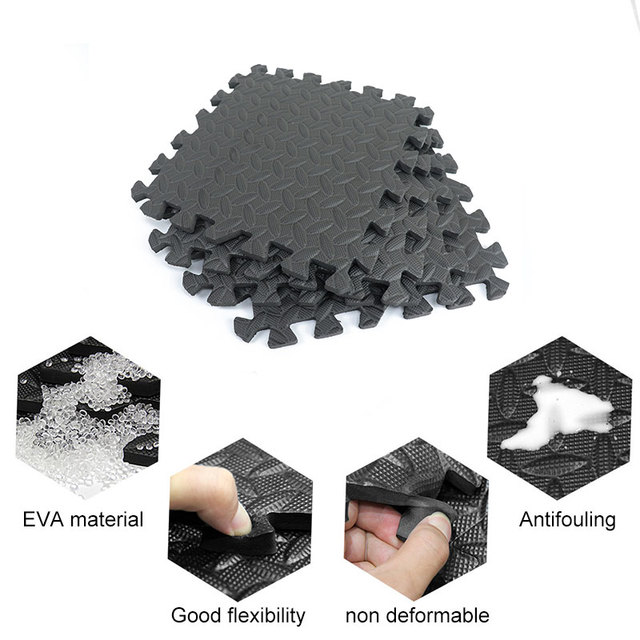 12PCS 30*30cm Sports Protection Gym Mat EVA Leaf Grain Floor Mats Yoga Fitness Non-Slip Splicing Rugs Thicken Shock Room Workout 4