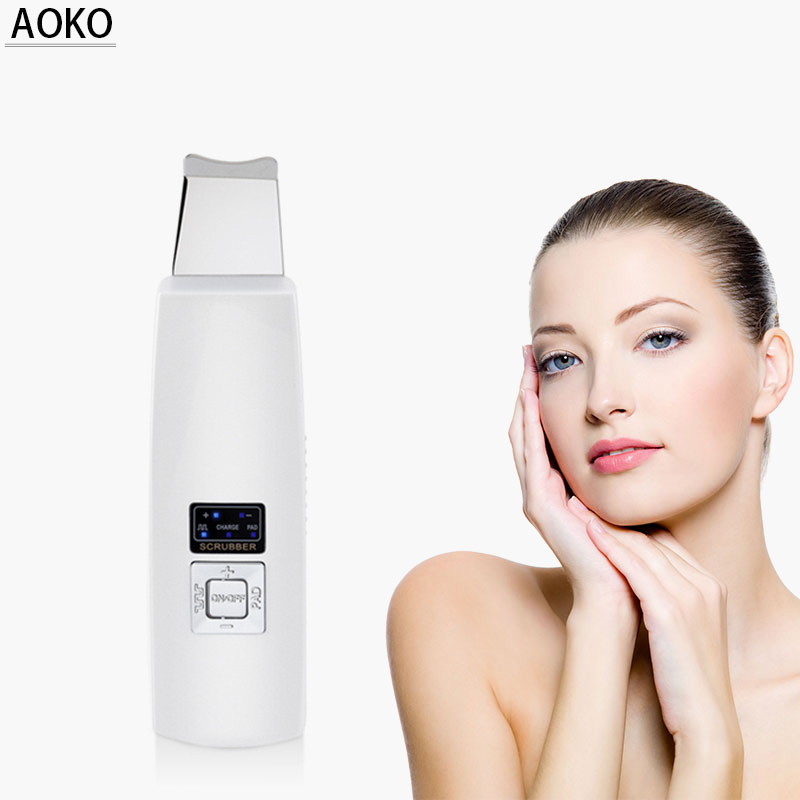 AOKO Professional Ultrasonic Purificador Da Pele Facial Remoção de Cravo Acne Íon Dispositivo de Cuidados Da Pele Beleza Instrumento de Limpeza Profunda
