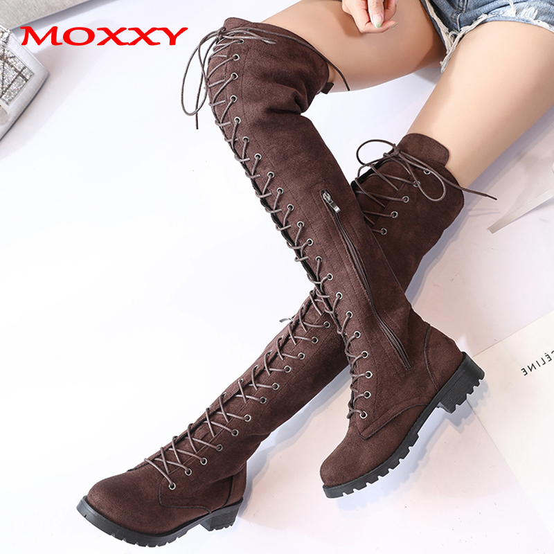 2019 New Sexy Ladies Lace Up Over The Knee Boots Plus Size 43 Platfrom Long Boots Women Shoes Thigh High Boots zapatos de mujer 3