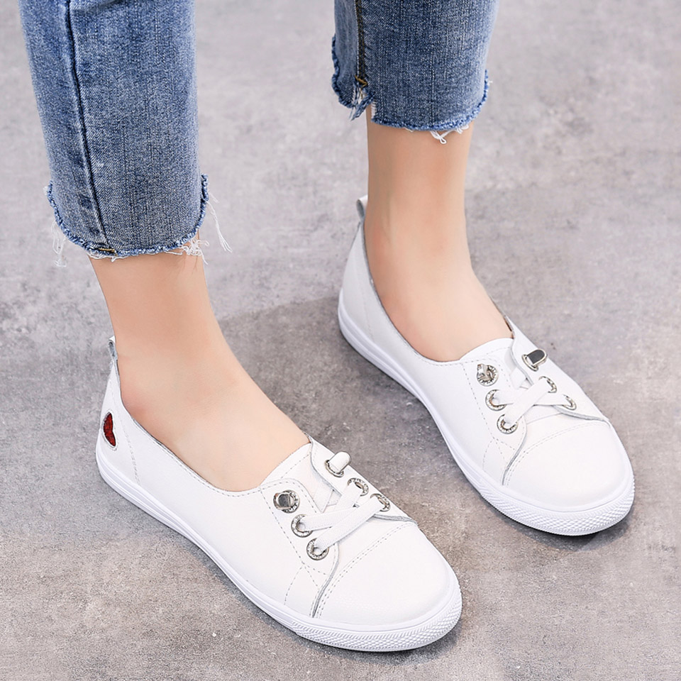 Hc1c0d72660ee43f9b59223c21595099fR - Ngouxm Fashion Women Loafers Flats Woman Lady female Slip On White Genuine Leather Moccasins Casual Shoes zapatos de mujer