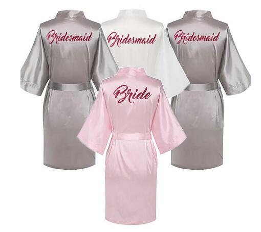 Bride Bridesmaid Red Letters Robes.Bride Robes Pajamas Bathrobe Nightgown.Women's Satin Wedding Kimono Sleepwear Get Ready Robes