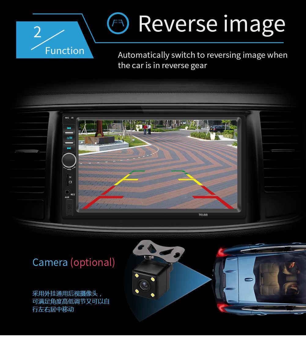 """ダブル Din カーステレオ 7 """"HD タッチ鏡リンク Autoaudio マルチメディア MP5 プレーヤーサブウーファー Bluetooth リアビューカメラテープレコーダー"""