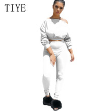TIYE Two Pieces Sets Female Casual Jumpsuits Autumn Long Sleeve Women Tracksuit Crop Top + Pants Set Lady Playsuits Plus SizeXXL