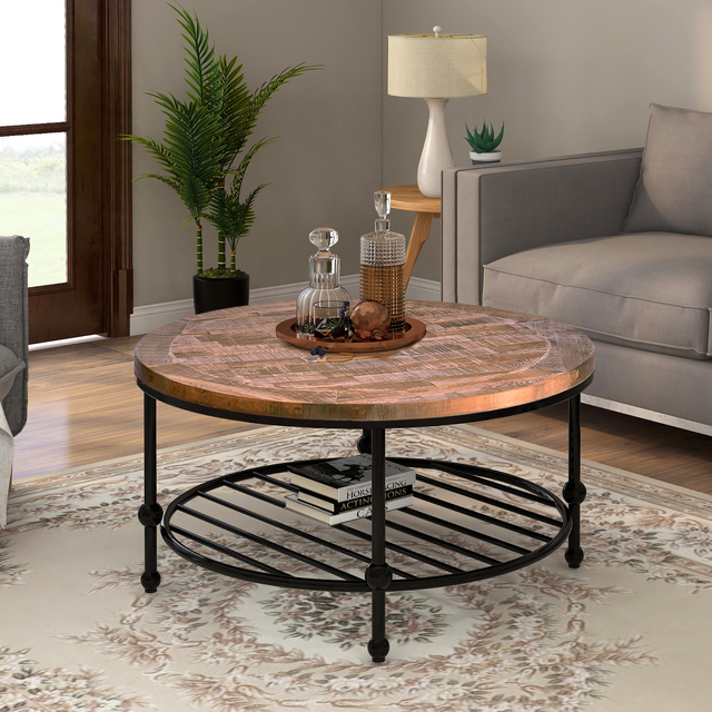 Natural Round Coffee Table with Storage Shelf  1