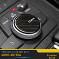 For Audi A4 A5 S4 S5 B9 2017 2018 Car Multi Media Knob Button Carbon Fiber Frame Trim Cover Sticker Interior Accessory