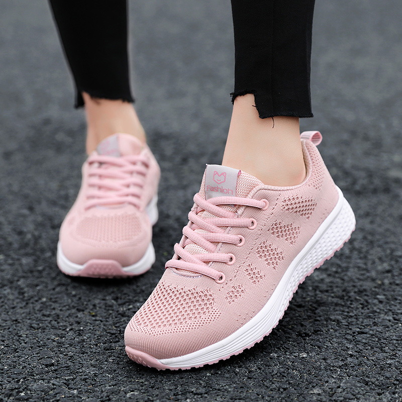 2020 Women Shoes Flats Fashion Casual Ladies Walking Woman Lace-Up Mesh Breathable Female Sneakers Zapatillas Mujer Feminino 10