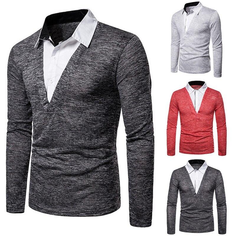 Polo-Shirts Blouse Collar Long-Sleeve Lapel Tee Autumn Two-Pieces Tops Fake Men Men's