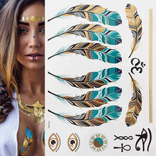Hot Diy Fashion Large Temporary Tattoos Glitter Gold Tattoo Stickers Sexy Body Beauty Bracelet Tatoo Waterproof Stamping
