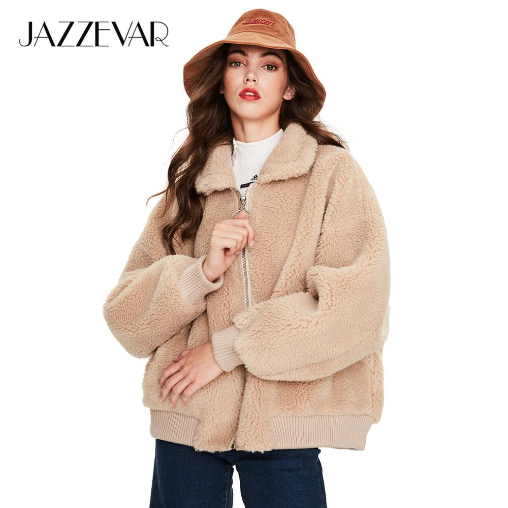 JAZZEVAR 2019 Winter New Arrival Real Fur Coat Women Fashion Fluffy Teddy Bear Jacket Thick Warm Winter Coat Women K9050