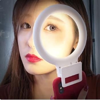 Novelty LED Selfie Ring Lamp Rechargeable Model Ring Clip For Cell Phone Photo Light Anel De Luz Para Celular Backlight For Tele